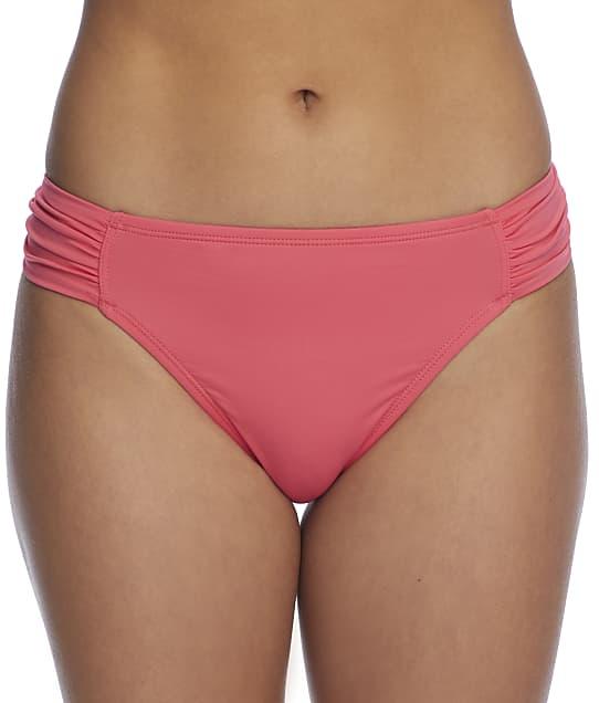 Tommy Bahama Pearl Solids Side Shirred Bikini Bottom in Coral Coast(Front Views) TSW31014B