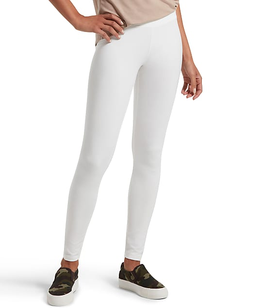 HUE Ultra Leggings With Wide Waistband  in White(Front Views) 12665