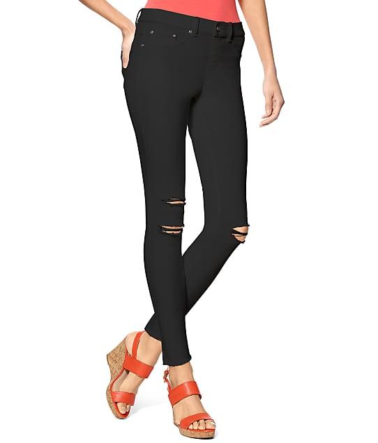 HUE Ripped Knee Denim Leggings in Black(Front Views) U17590