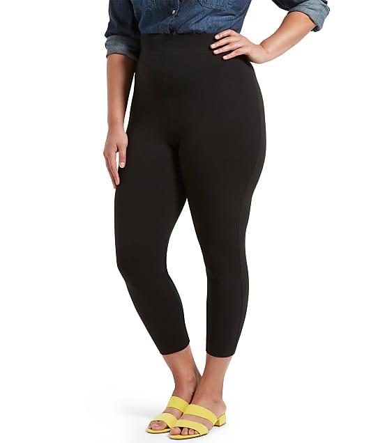 HUE Plus Size Black Out Capri Leggings in Black U20482Q