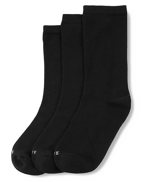 HUE Super Soft Crew Socks 3-Pack in Black U20742