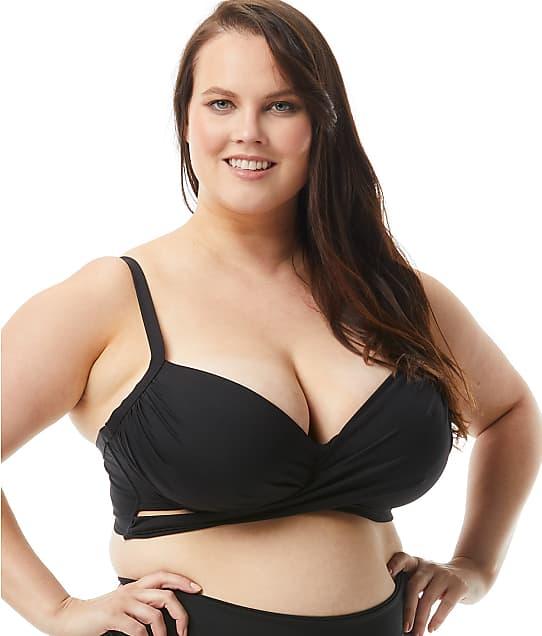 Coco Reef Plus Size Classic Solids Underwire Wrap Bikini Top in Castaway Black(Front Views) U95147P