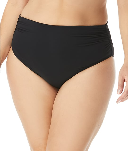 Coco Reef Plus Size Classic Solids Fold-Over Bikini Bottom in Castaway Black U95208P