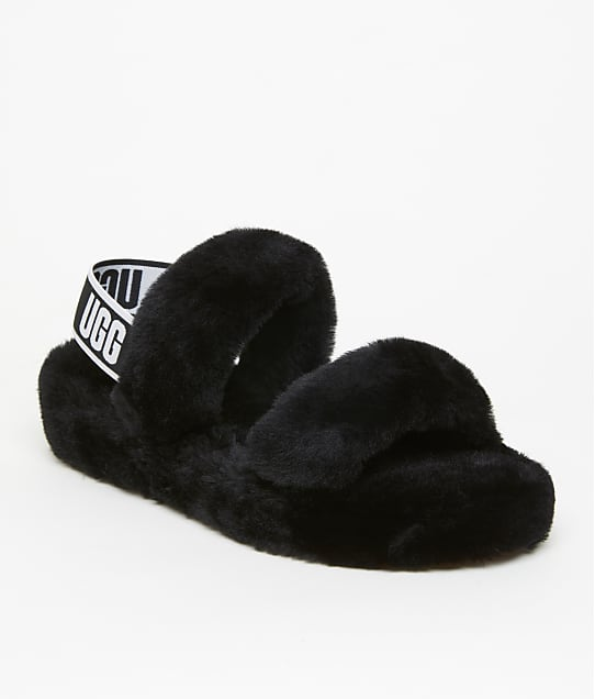 UGG Oh Yeah Slides in Black(Front Views) 1107953