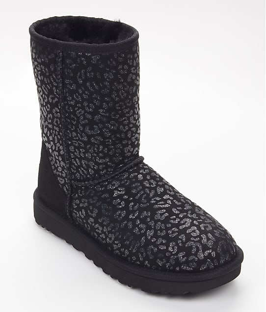 UGG Classic Short Snow Leopard Boots in Black(Front Views) 1113495