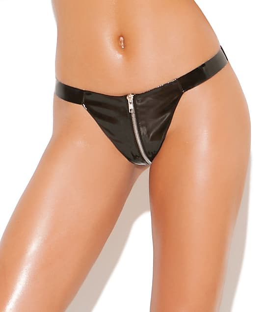 Elegant Moments: Zip-Up Vinyl Thong