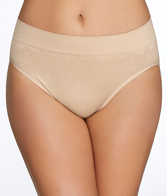 Vanity Fair No Pinch No Show Hi-Cut Seamless Brief in Damask Neutral Lace(Front Views) 13171