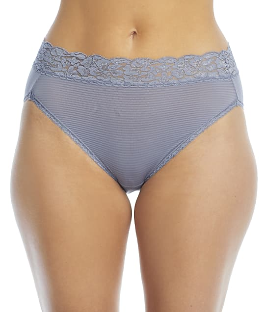 Vanity Fair Flattering Lace Hi-Cut Brief in Blue Willow Stripe(Front Views) 13280