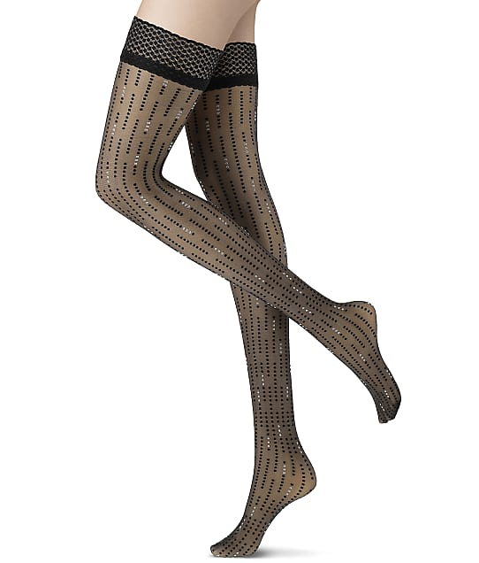 Oroblu Little Point Stay Ups Thigh Highs in Black(Front Views) VOBC66278
