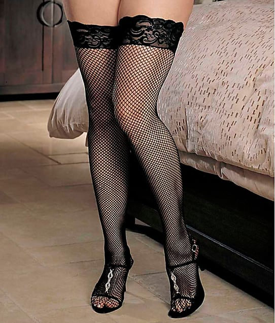 Shirley of Hollywood: Plus Size Fishnet Back Seam Thigh High
