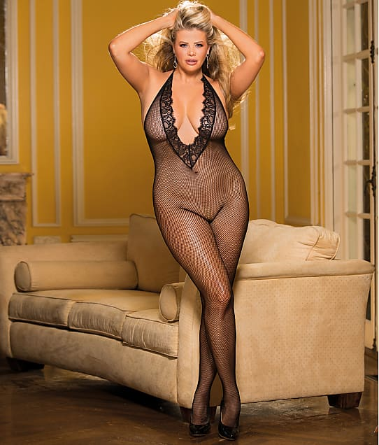 Shirley of Hollywood: Plus Size Deep Plunge Crotchless Bodystocking