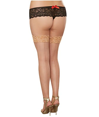 Dreamgirl Plus Size Back Seam Fishnet Stay-Up Thigh Highs