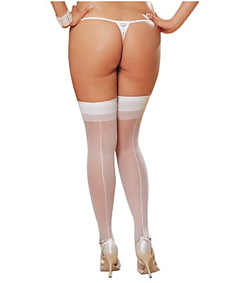 Dreamgirl Plus Size Sheer Thigh Highs with Back Seam