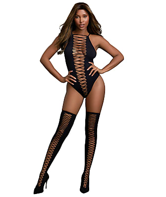 Dreamgirl Lace-Up Teddy Set