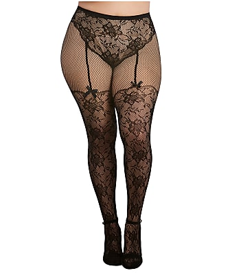 Dreamgirl Plus Size Lace Tights