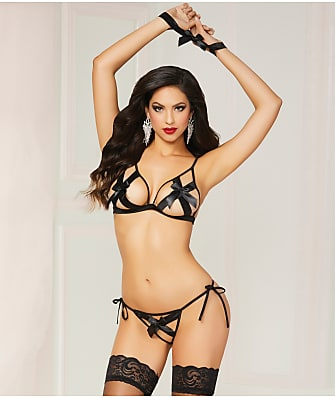 Seven 'til Midnight Satin Bow Crotchless Bra & Panty Set