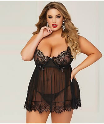 Seven 'til Midnight Plus Size Bed Of Roses Babydoll Set