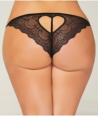Seven 'til Midnight Plus Size Cut-Out Crotchless Heart  Tanga