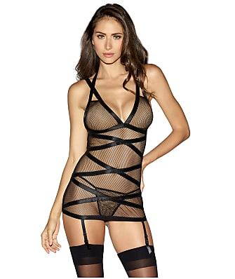 Dreamgirl Fishnet Garter Chemise Set