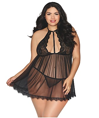 Dreamgirl Plus Size High Neck Sheer Babydoll Set