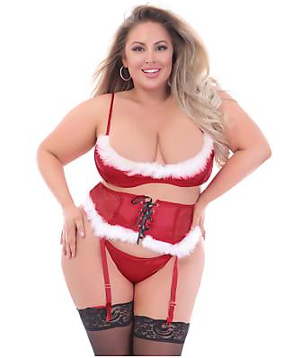 Seven 'til Midnight Plus Size Santa Bra & Panty Garter Set