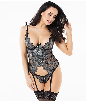 Dreamgirl Metallic Bustier Crotchless Garter Set