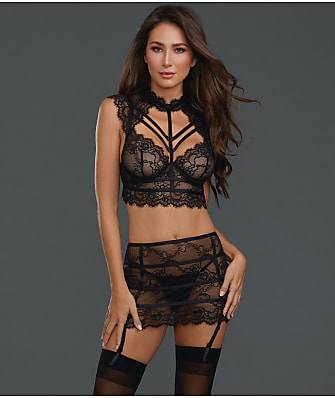 21a85b8aa20 Dreamgirl Sheer Lace Bra   Garter Set