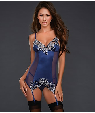 Dreamgirl Satin Embroidered Garter Chemise Set