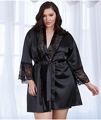 Dreamgirl Plus Size Satin And Lace Robe