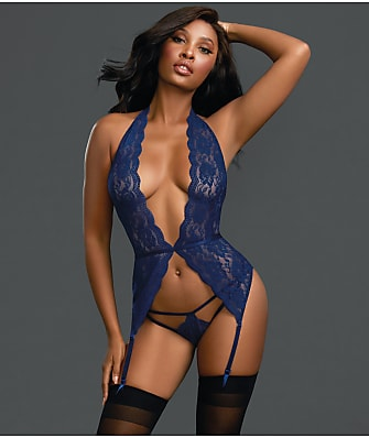 Dreamgirl Sheer Lace Bustier Garter Set