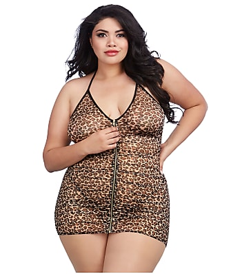 Dreamgirl Plus Size Zip Sheer Animal Chemise Set
