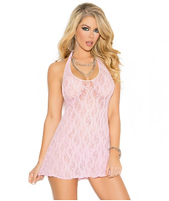 Elegant Moments Lace Wireless Halter Chemise Set