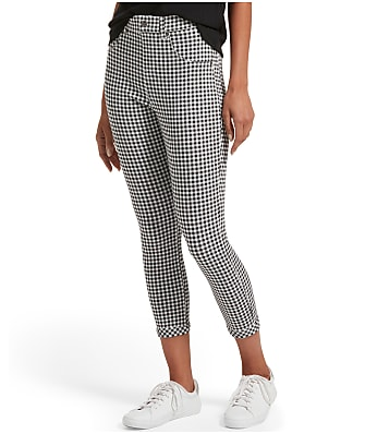 HUE Gingham Denim High-Waist Capri Leggings