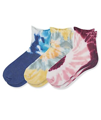 HUE Ankle Roll Top Tie Dye Socks 3-Pack