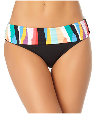 Anne Cole Signature Wavy Stripe Fold-Over Bikini Bottom