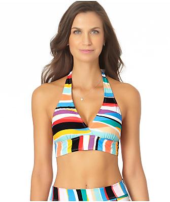 Anne Cole Signature Wavy Stripe Marilyn Halter Bikini Top