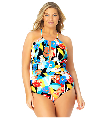 Anne Cole Signature Plus Size Modern Blooms High-Neck One-Piece
