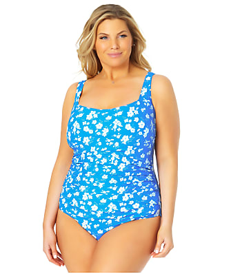 Anne Cole Signature Plus Size Baby Bloom Square Neck One-Piece