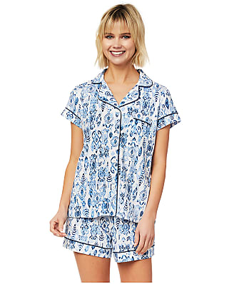 The Cat's Pajamas Ikat Marine Pima Knit Pajama Set
