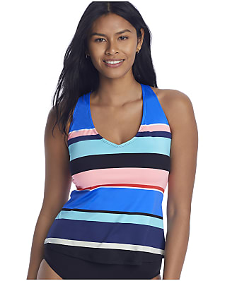 24th & Ocean Step Up Stripe Cross-Back Underwire Tankini Top