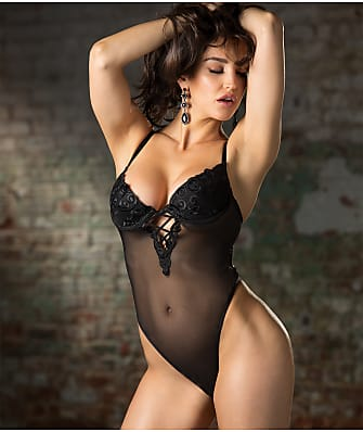 Shirley of Hollywood Swirl Embroidery Mesh Teddy