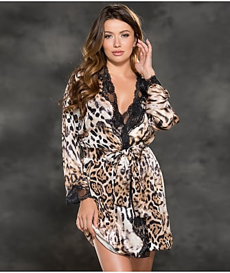 Shirley of Hollywood Satin Lace Trim Robe