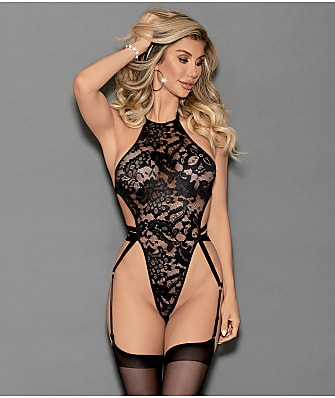 Escante High Neck Garter Teddy Set