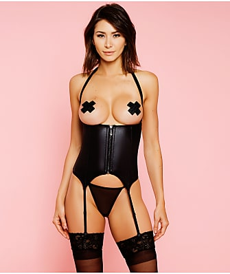 Glitter Open Bust Faux Leather Corset