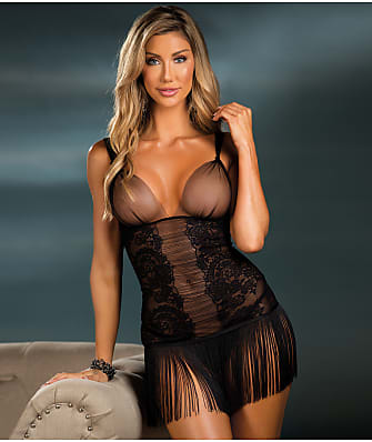 Shirley of Hollywood Fringe & Lace Chemise Set