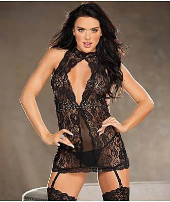 Shirley of Hollywood Keyhole Rhinestone Chemise Set