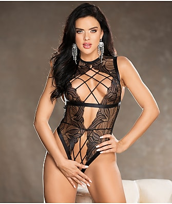 Shirley of Hollywood Lattice Open-Back Crotchless Teddy