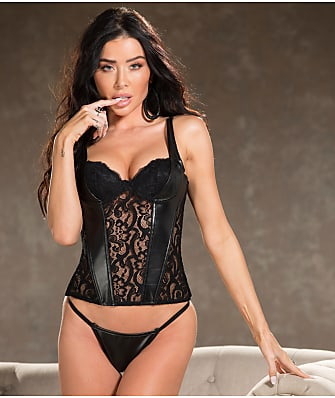 Shirley of Hollywood Faux Leather & Lace Bustier Set