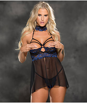 Shirley of Hollywood Caged Ring Crotchless Babydoll Set
