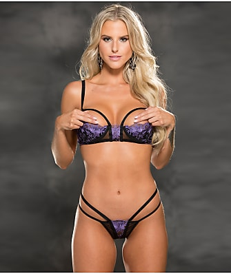 Shirley of Hollywood Strappy Open Cup Bra & Panty Set